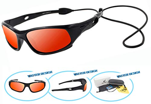 Price comparison product image VATTER TR90 Unbreakable Polarized Sport Sunglasses For Kids Boys Girls Youth 816blackredlenses