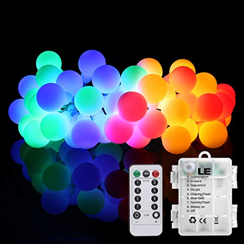 LE Battery Operated Globe String Light with Remote, Portable, Multicolor, Twinkle Light, Timer, 8 Modes, 16.4ft 50 LED, Indoor Outdoor Decorative Fairy Light for Bedroom, Patio, Garden, Party and More