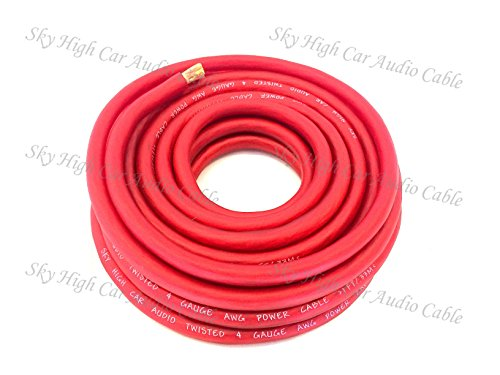 5 ft CCA 4 Gauge Oversized RED Power Ground Wire Sky High Car Audio