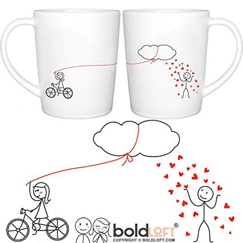 BOLDLOFT Shower You with My Love His and Hers Coffee Mugs- Couple Mugs Set, Boyfriend gifts, Husband Gifts, Fiance Gifts for Him, Anniversary Gifts for Him, Bridal Shower Gifts, Dating Gifts