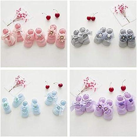Kongqiabona Baby Socken 0 24 Monate Kleinkind M/ädchen S/öckchen Lace Bow Tie R/üschen Trim Rutschfeste Baumwolle Crew Socken