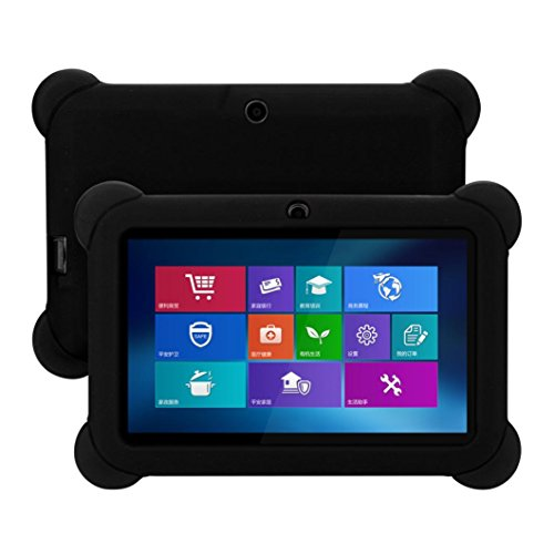 Fiaya Slim Anti-Slip Soft Rubber Silicone Gel Protective Back Case Cover For 7 Inch Android Tablet (Black)