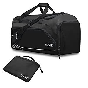 Bagail Travel Luggage Duffel Bag Lightweight for Sports, Gym, Vacation Black S