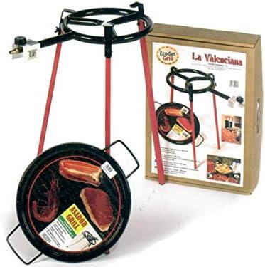 Vaello La Valenciana ecoset mit 1 Brenner 300 mm, Grillpfanne quadratisch Beine 36 cm, Stahl, Silber/schwarz, 30 x 30 x 30 cm