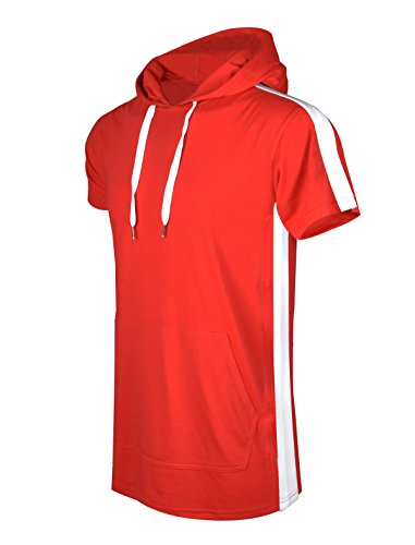SCREENSHOTBRAND-S11850 Mens Hip Hop Longline Premium Tee - Pullover Short Sleeve Fashion Hooded Shirt Side Stripe Basic-Red-2Xlarge (Best Mens Hoodie Brands)