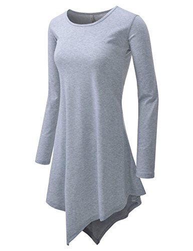 Ideas For Eighties Fancy Dress (NEARKIN (NKNKWTN73) Women Figure Hugging Longsleeve Roundneck Tunic Design Mini Dress GRAY US XXS(Tag size XS))