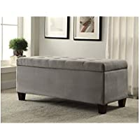 Traditional Rectangle Upholstered Gray Tufted Flip-Top Ottoman with Shoe Storage