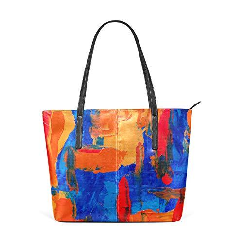 Blue Orange Abstract Painting Leather Satchels Purses Shoulder Tote Bags Satchel ()