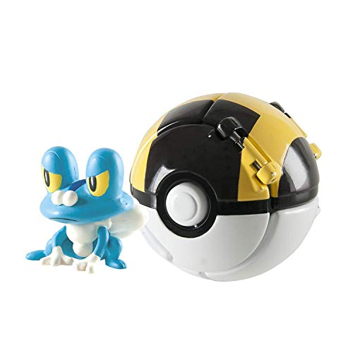 Throw 'N' Pop Poké Ball, Pikachu Figure and Poke Ball Action Figure Toy (Froakie and Ultra Ball)