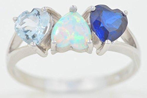 Created Blue Sapphire Simulated Opal & Genuine Aquamarine Heart Ring .925 Sterling Silver Rhodium Finish