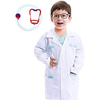 Jr. Doctor Lab Coat Deluxe Kids Toddler Costume Set for Halloween Scrub Dress Up Party and Scientists Role Play
