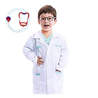 Jr. Doctor Lab Coat Deluxe Kids Toddler Costume Set for Halloween Dress Up Party (Small (5-7yr)) White