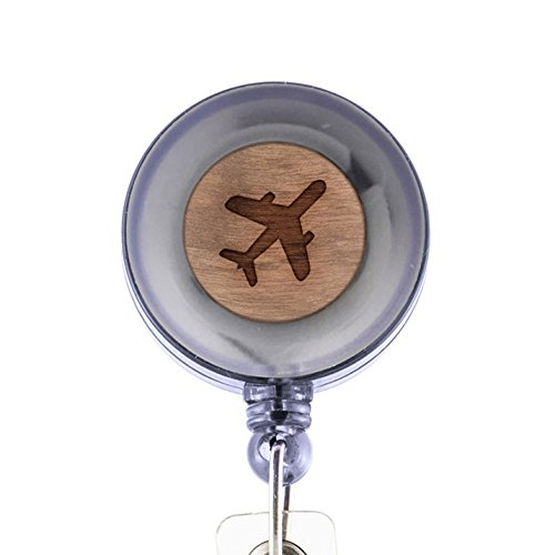 MODERN GOODS SHOP Jumbo Airplane Id Badge Holder - Wooden ID Holder - Laser Engraved Design Custom ID Holder - Clip On Belt/Pocket Retractable ID Badge Holder