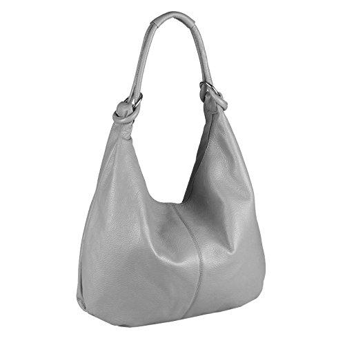 Made in Italy, Borsa a spalla donna Grigio grigio chiaro 47x35x16 cm (BxHxT)