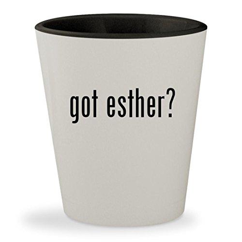 got esther? - White Outer & Black Inner Ceramic 1.5oz Shot (Queen Esther Bible Costume)