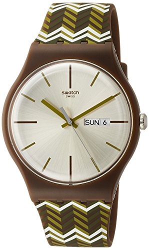 Swatch Unisex Fischgrat 41mm Multicolor Silicone Band Plastic Case Swiss Quartz White Dial Watch - Swatch Price