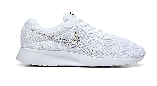 Swarovski Nike Shoes Women's – White / Black Stripes Customized with Swarovski Crystals Brand New in Box Authentic – Bling Nike, Bling shoes (6.5, White – Outside Logos Only)