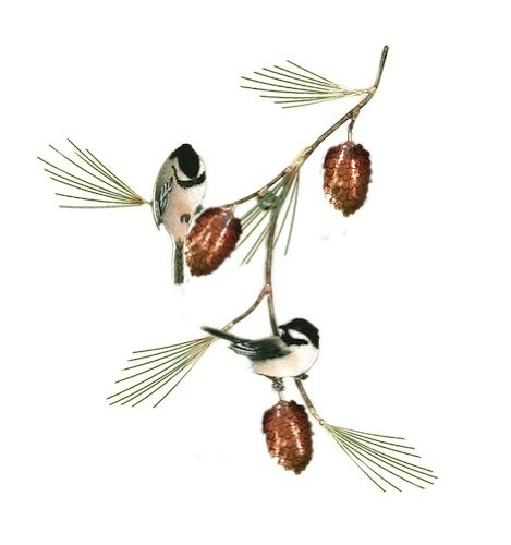 Bovano - Wall Sculpture - Chickadees w/ Pine Bough made in New England