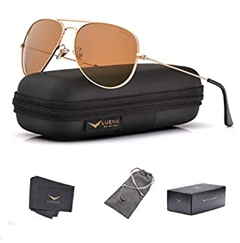 LUENX Womens Mens Aviator Sunglasses Polarized Brown Amber Lenses Gold Metal Frame UV 400 60MM