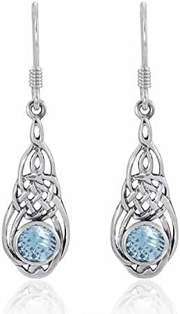925 Sterling Silver Celtic, Genuine Blue Topaz Stone Dangle Earrings - Nickel Free