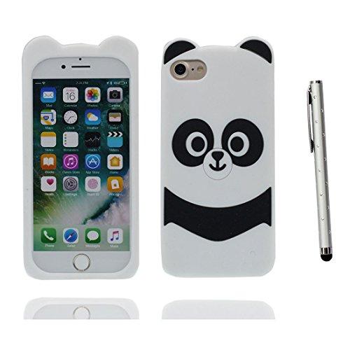 """iPhone 7 Coque (4.7""""), [ de matériau TPU souple ] iPhone 7 étui (4.7 pouces), poussière glissement résistant aux rayures, iPhone 7 Case Panda et stylet"""