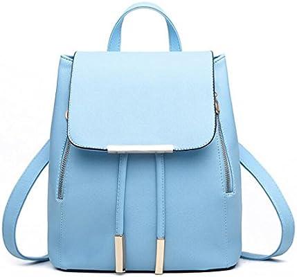 Amazon.com   Women Backpack PU Leather Mochila Escolar School Bags For Teenagers Girls Top-Handle Backpacks Herald sky blue 28x24x14cm   Backpacks