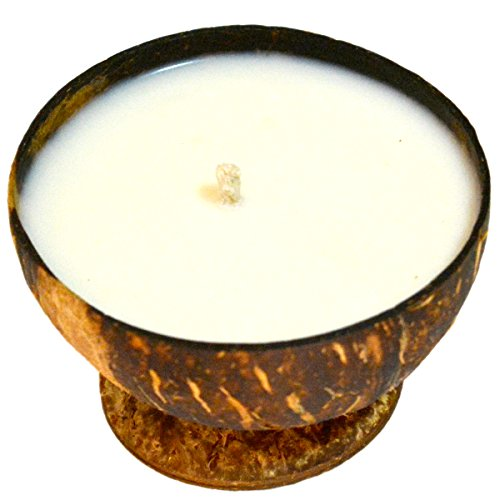 250 Die - Jasmine Aromatherapy Scented Soy Candle in Coconut Shell, 5 oz by Vasaana