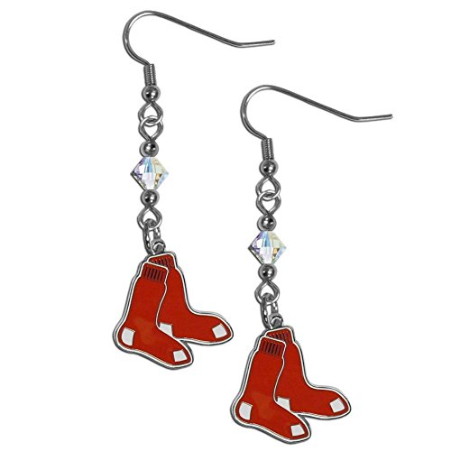 Dangle Earrings Sox (MLB Boston Red Sox Crystal Dangle Earrings)