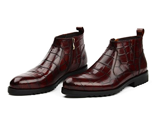 Herren Lederschuhe Herren Lederschuhe High-Top-Schuhe Martin Stiefel britischen Stil wies kurze Stiefel Herrenschuhe ( Farbe : Weinrot , größe : EU 41/UK7 ) Weinrot