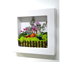 Scandia Moss Frame (white) for Air purification Removal of Sick House Syndrome Interior Hand-made