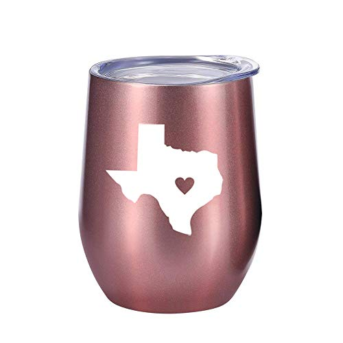 Texas Gifts Wine or Coffee Tumbler 12oz - Unique Texas Themed Gift for Decor, State of Texas, Mug, Women ()