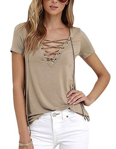 Sumtory Women's Sexy V Neck Bandage Short Sleeve T Shirt Tops – Small, Khaki
