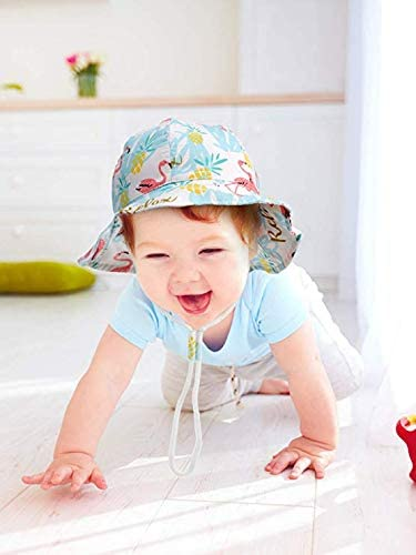 BAVST Baby Toddler Sun Protection Hat Cotton Boys Animal Bucket Hat with Chin Strap Adjustable Wide Brim Caps for 3M-7T