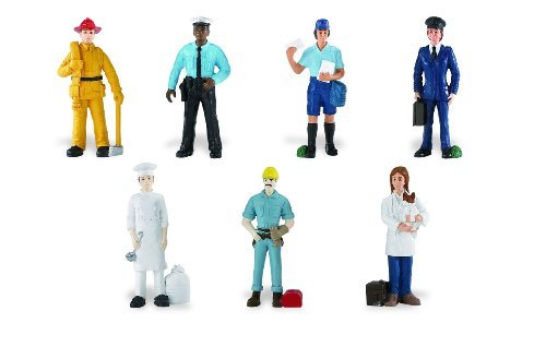 Safari Ltd People TOOB With 7 Everyday Heroes Figurine Toys, Including Construction Worker, Policeman, Mailman, Pilot, Chef, Fireman, and Veterinarian (Action Figurine)