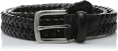 Black Leather Braid (Haggar Men's 30MM Braid Belt, Black, 36)