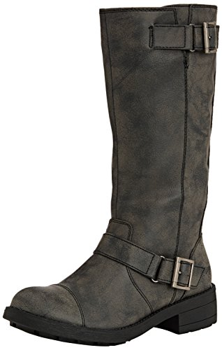 - Rocket Dog Women's Terry Vintage Worn / Bromley Flat Mid Calf High Biker Boots - Brown, Black Vintage or Bromley UK3 - EU36 - US5 - AU4 Black Galaxy