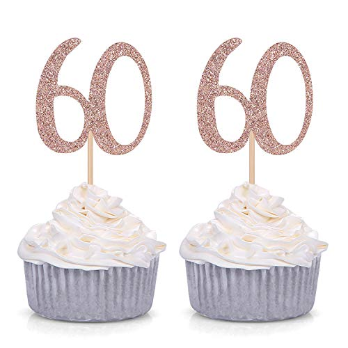 Number 60 60th Birthday Cupcake Toppers Age Decorations Party Picks 24 Counts - Rose Gold -