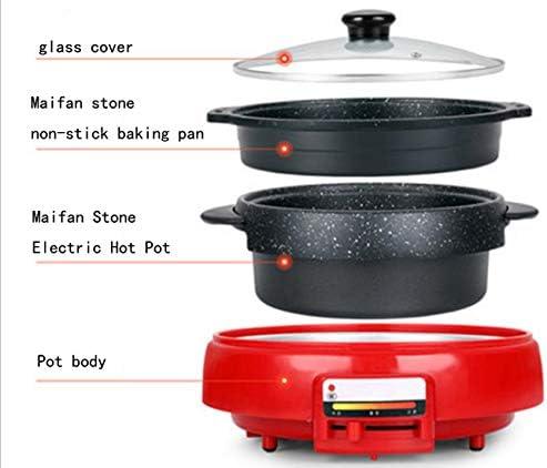 WJJJ Casserole électrique pour barbecue 2 en 1 avec grill multifonction 1800 W en pierre de Maifan Intérieur en plein air
