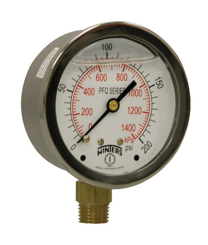 "Winters PFQ Series Stainless Steel 304 Dual Scale Liquid Filled Pressure Gauge with Brass Internals, 0-200 psi/kpa,2-1/2"" Dial Display, +/-1.5% Accuracy, 1/4"" NPT Bottom Mount from Winters Instruments"