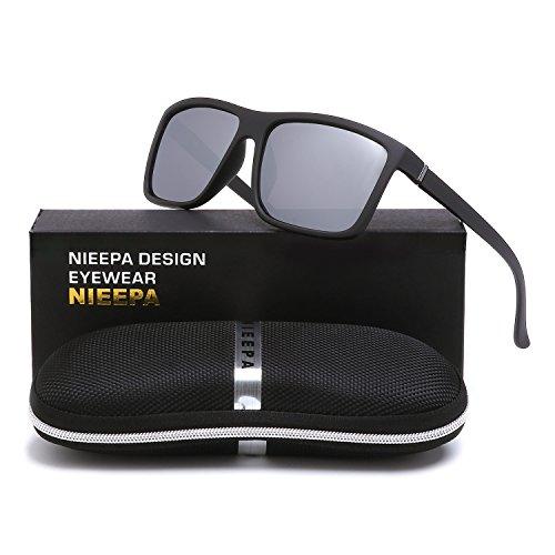 Womens Medium Frame Sunglasses - NIEEPA Men's Driving Sports Polarized Sunglasses Square Wayfarer Plastic Frame Glasses (White Silver Lens/Black Frame)