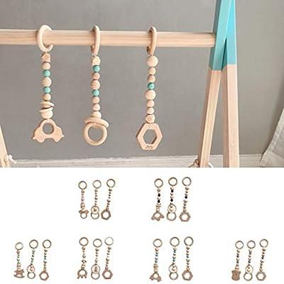 Topker 3PCS/Set Baby Play Gym Silicone Beads Wood Teether Toddler Hanger Rattle Wood Ring Teething Toys Newborn Baby Pram Toy: Home & Kitchen