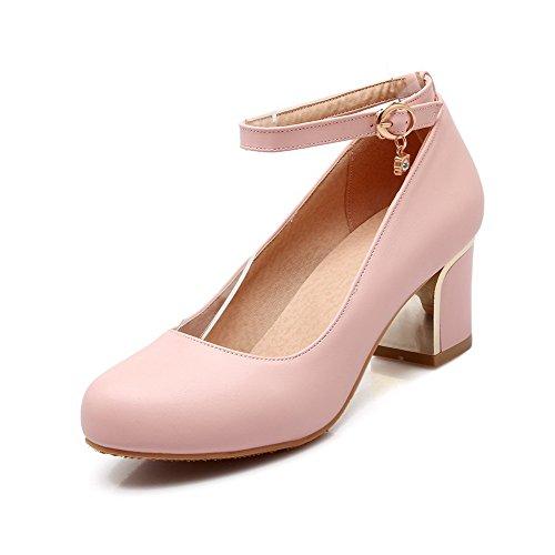Amoonyfashion Damesschoenen Solid Pu Kitten Hakken Ronde Dichte Teengesp Pumps-schoenen Roze
