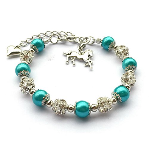 DOLON Teal Color Faux Pearls Beaded Horse Charm Bracelet Fans Jewelry Lover ()