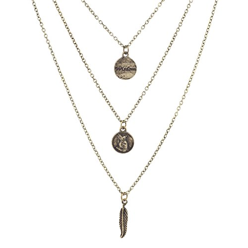 Lux Accessories Burnished Gold Tone Wisdom Owl Leaf Layered Necklace ()
