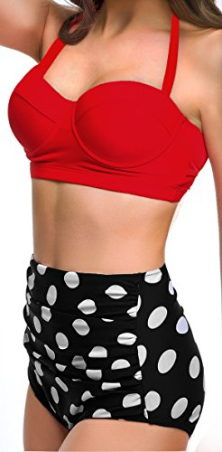 bde51af07a UniSweet Women Vintage Polka Dot High Waisted Bikini Set Two Piece  Swimsuits (Womens Size)