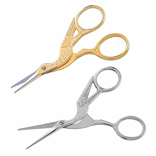 GOOTRADES 2 Pack 3.5 Inch Stork Embroidery Scissors for Sewing Craft Art Work ,Stainless (Stork Embroidery Scissors)