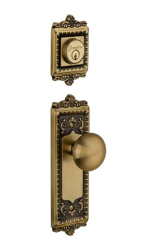- Grandeur Windsor Plate with Fifth Avenue Knob and Matching Deadbolt Complete Single Cylinder Combo Pack Set, Vintage Brass