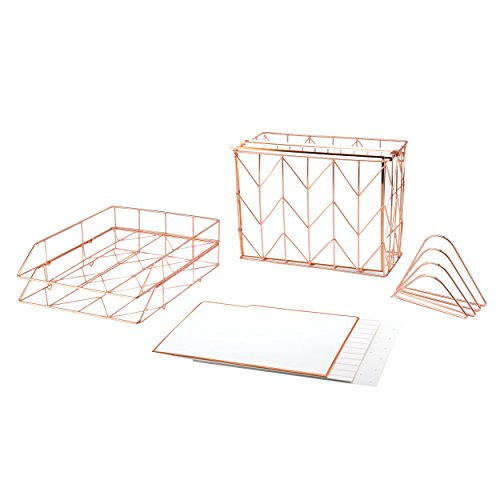 Desktop Brands (U Brands Desktop Filing Set, Rose Gold, 10 Piece)