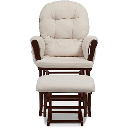 Beautiful Bowback Glider Rocker and Ottoman Espresso with Beige, Solid Wood Construction, Polyester Pads, Beautiful, Non-Toxic Finish, Ideal For Placement in a Nursery, Living Room or Bedroom by GAShop