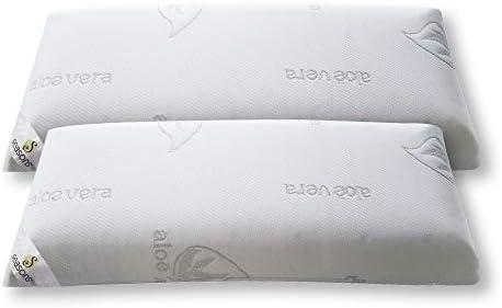 Seasons-Pack 2 almohadas viscoelasticas 70 cms, Antiácaros y Antibacterias , tejido Aloe vera hilo de plata.Doble funda